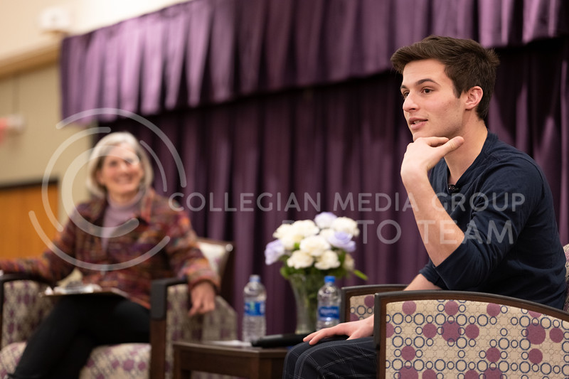 Activist and Co-Founder of March for Our Lives, Cameron Kasky, speaks at the Union Ballroom about gun-control, and the importance of voting. (Dylan Connell | Collegian Media Group)