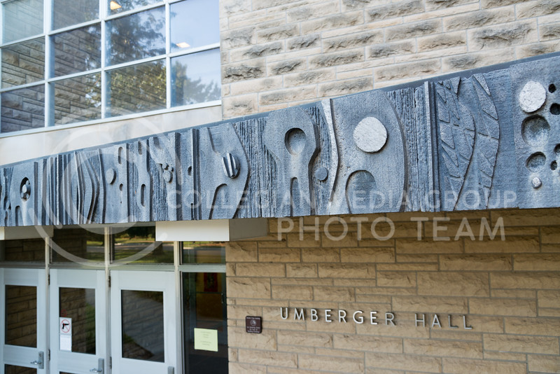 """The piece titled 'Hard Work' rests upon Umberger Hall on August 9, 2016. The piece was part of the """"Art-In-Situation"""" workshop held through the 1960s and 1970s. (Evert Nelson 
