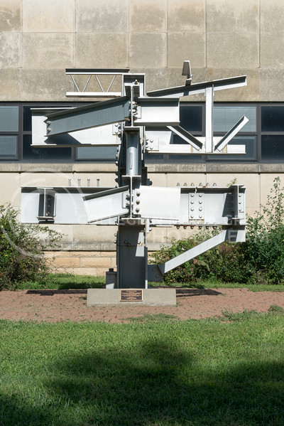 """The scupture entitled 'Ad Astra E Terra', Latin for """"from the earth to the stars,"""" reflects the evening sun on August 9, 2016. (Evert Nelson 