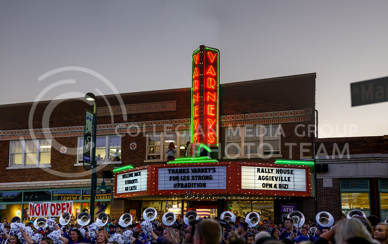 The Kansas State University Marchihng Band performs infront of the new RallyHouse building in Aggieville on August 20, 2016. (Nathan Jones | The Collegian)