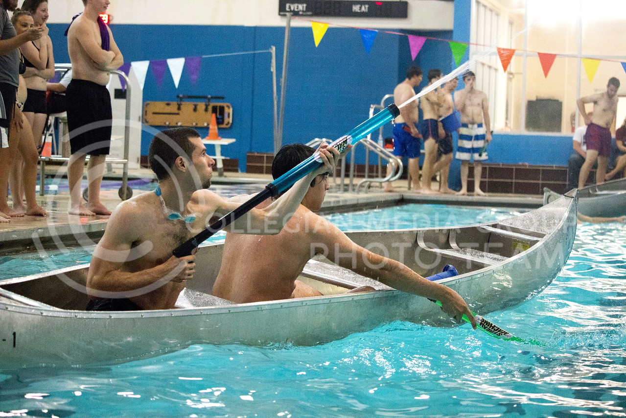team players shoot water at opposing teams during the Canoe Battleship held by K-State student Union Program Council on Sept. 8, 2017 in the K-State's Natatorium. (Alanoud Alanazi | Collegian Media Group)