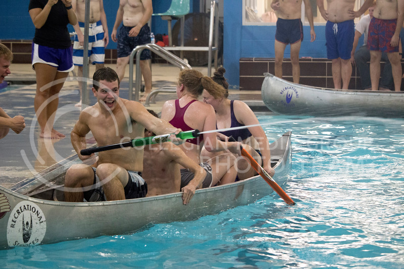 team player shoot water at eoppsing teams during the Canoe Battleship held by K-State student Union Program Council on Sept. 8, 2017 in the K-State's Natatorium. (Alanoud Alanazi   Collegian Media Group)