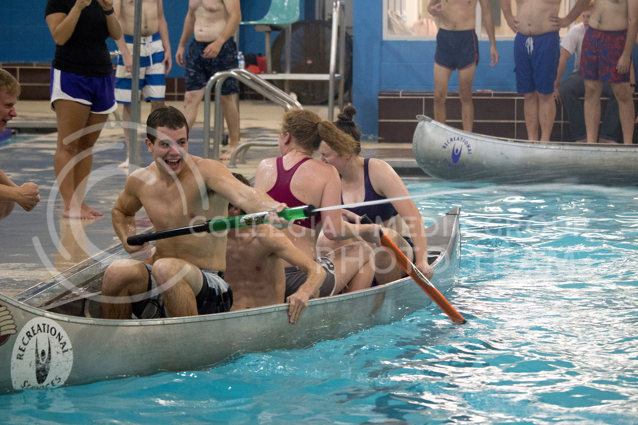 team player shoot water at eoppsing teams during the Canoe Battleship held by K-State student Union Program Council on Sept. 8, 2017 in the K-State's Natatorium. (Alanoud Alanazi | Collegian Media Group)