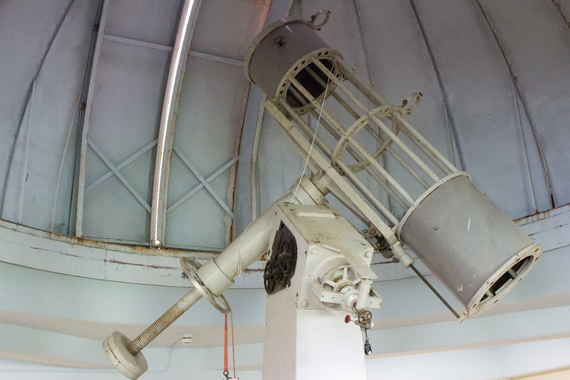 This telescope mount is all that is left inside the old observatory that sits on top of Cardwell. The observatory hasn't been operational for about 20 years, however, efforts are being made to restore it back to functionality.  (Sarah Millard | Collegian Media Group)