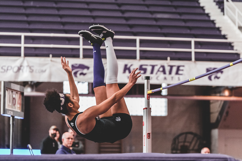 After clearing the bar, junior Ariel Okorie lands on her back during the high jump at the Carol Robinson/Attila Zsivoczky Pentathlon in Ahern on December 7, 2018. (Alex Todd   Collegian Media Group)