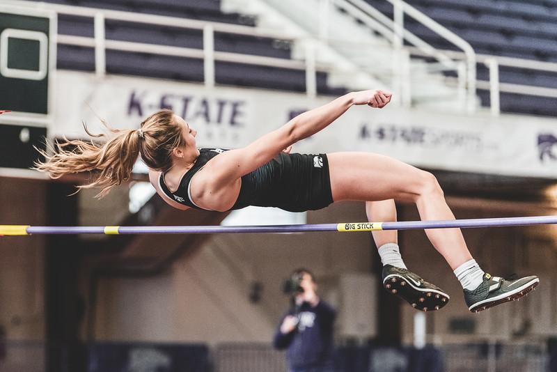 K-State junior Lauren Taubert flies over the bar set at 1.67m during the high jump at the Carol Robinson/Attila Zsivoczky Pentathlon in Ahern on December 7, 2018. (Alex Todd   Collegian Media Group)