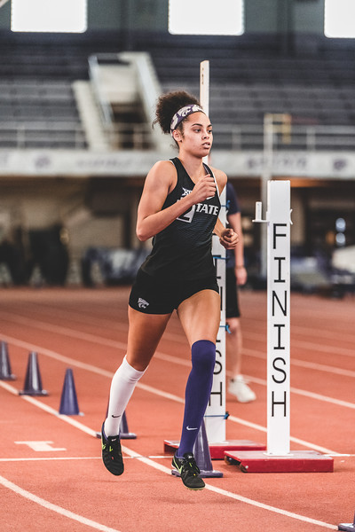 Finishing third, K-State junior Ariel Okorie gets a time of 2:33.56 in the women's 800m race during the Carol Robinson/Attila Zsivoczky Pentathlon in Ahern on December 7, 2018. (Alex Todd   Collegian Media Group)