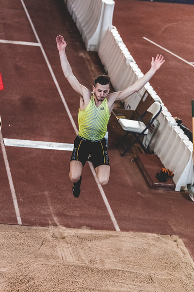 K-State junior Aaron Booth jumps 7.18m, placing first in the long jump during the Carol Robinson/Attila Zsivoczky Pentathlon in Ahern on December 7, 2018. (Alex Todd   Collegian Media Group)