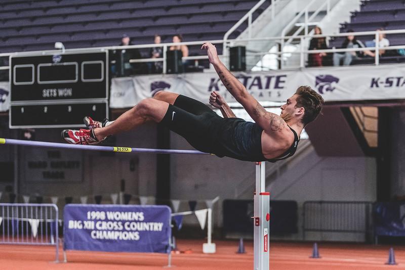 Flying over the crossbar, senior Simone Fassina clears 1.85m in the mens high jump during the Carol Robinson/Attila Zsivoczky Pentathlon in Ahern on December 7, 2018. (Alex Todd   Collegian Media Group)