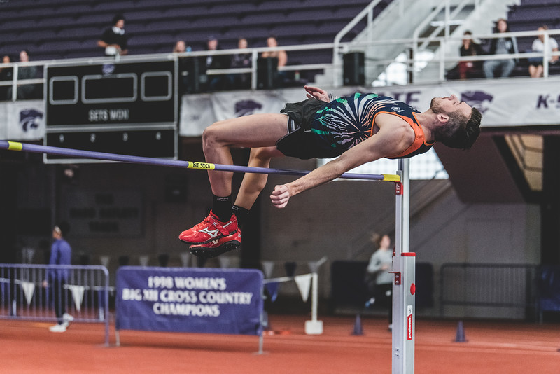 Competing for first place, K-State junior Aaron Booth clears 2m in the mens high jump during the Carol Robinson/Attila Zsivoczky Pentathlon in Ahern on December 7, 2018. (Alex Todd   Collegian Media Group)
