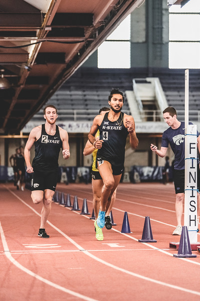 K-State sophomore Tejaswin Shankar finishes the 1000m race in first place during Carol Robinson/Attila Zsivoczky Pentathlon in Ahern on December 7, 2018. (Alex Todd   Collegian Media Group)