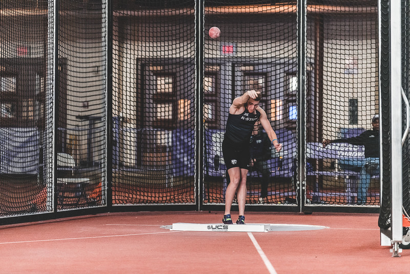 Participating in the shot put, junior Kyle Parr throws the shot 10.88m, placing fourth during the Carol Robinson/Attila Zsivoczky Pentathlon in Ahern on December 7, 2018. (Alex Todd   Collegian Media Group)