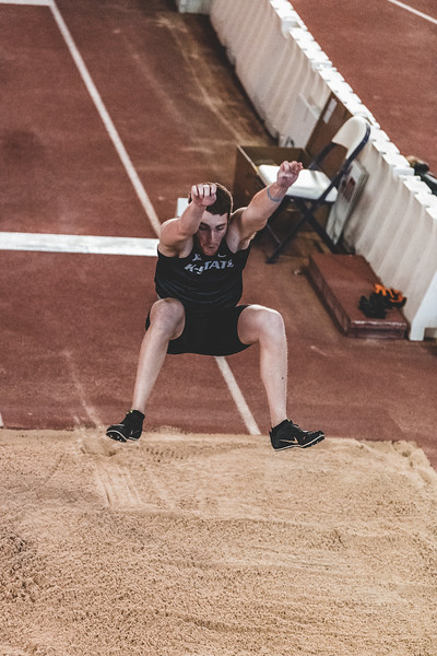 Preparing the land, K-State junior Kyle Parr takes 5th place in the long jump during the Carol Robinson/Attila Zsivoczky Pentathlon in Ahern on December 7, 2018. (Alex Todd   Collegian Media Group)