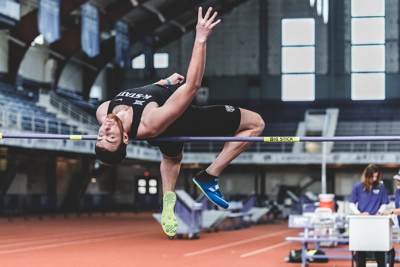 K-State junior Kyle Parr clears 1.88m in the mens high jump during the Carol Robinson/Attila Zsivoczky Pentathlon in Ahern on December 7, 2018. (Alex Todd   Collegian Media Group)