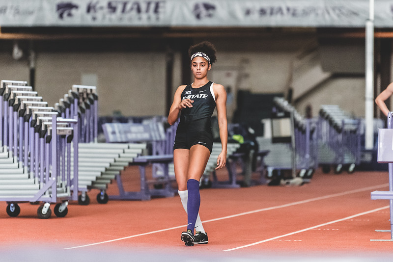 K-State junior Ariel Okorie prepares to compete in the high jump at the Carol Robinson/Attila Zsivoczky Pentathlon in Ahern on December 7, 2018. Okorie place second overall in the women's competition. (Alex Todd   Collegian Media Group)