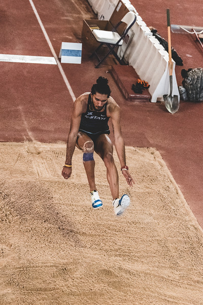 K-State sophomore Tejaswin Shankar jumps 6.86m, placing second in the long jump during the Carol Robinson/Attila Zsivoczky Pentathlon in Ahern on December 7, 2018. (Alex Todd   Collegian Media Group)