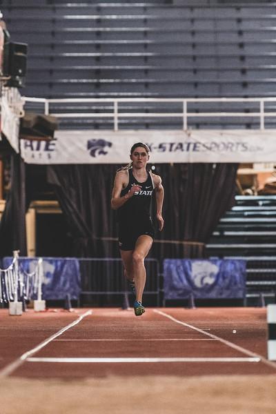 Running down the track, K-State senior Morgan Coffman prepares to jump during the women's long jump at the Carol Robinson/Attila Zsivoczky Pentathlon in Ahern on December 7, 2018. (Alex Todd   Collegian Media Group)