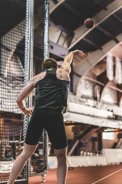 K-State junior Kyle Parr launches the shot 10.88m during the Carol Robinson/Attila Zsivoczky Pentathlon in Ahern on December 7, 2018. (Alex Todd   Collegian Media Group)