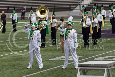Drum majors from the Salina South High School Marching Band perform their salute during the Central States Marching Festival in Bill Snyder Family Stadium on Oct. 15, 2016. (Nathan Jones | The Collegian)