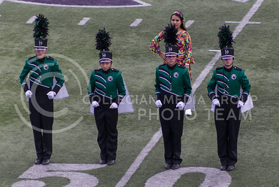 Drum majors from the DeSoto High School Marching Band perform their salute during the Central States Marching Festival in Bill Snyder Family Stadium on Oct. 15, 2016. (Nathan Jones | The Collegian)