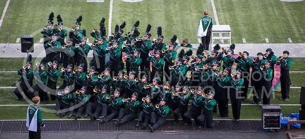 The DeSoto High School Marching Band performs a trumpet chorus during the Central States Marching Festival in Bill Snyder Family Stadium on Oct. 15, 2016. (Nathan Jones | The Collegian)