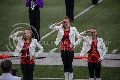 Drum majors from the Louisburg High School Marching Band give their salute during the Central States Marching Festival in Bill Snyder Family Stadium on Oct. 15, 2016. (Nathan Jones | The Collegian)