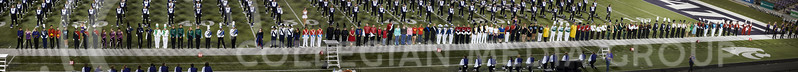 Drum majors from all the high schools line up to receive their awards and ratings during the Central States Marching Festival in Bill Snyder Family Stadium on Oct. 15, 2016. (Nathan Jones | The Collegian)