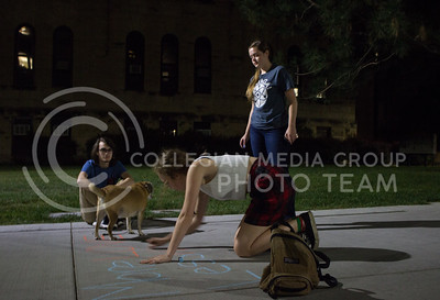 """Susannah Caufman, sophomore in secondary education, writes """"more love, less hate"""" in chalk on the KSU campus grounds the evening after white nationalist posters were found on poles throughout campus. (Regan Tokos 