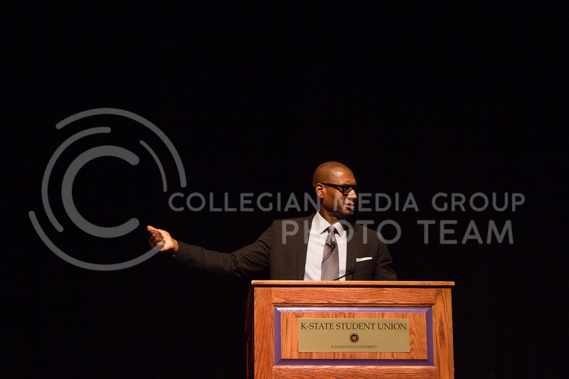 Charles Blow, Op-Ed columnist at The New York Times, gives a lecture titled The Media's Role in the Age of Trump in Forum Hall on Oct. 10 as a part of the Lou Douglas Lecture Series. (Regan Tokos | Collegian Media Group)