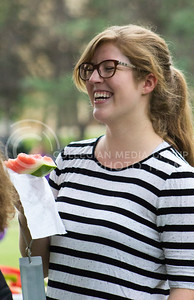 Katie Clarkson, freshman in animal science, participates in the College of Agriculture's annual watermelon feed on Aug. 30, 2016. (Maddie Domnick | The Collegian).