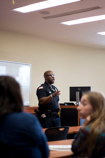 Randy Myles is a community outreach officer for the K-State Police Department. Myles spoke on and answered questions about matters concerning the the K-State concealed carry weapons policy. (Andrew Kemp   Collegian Media Group)