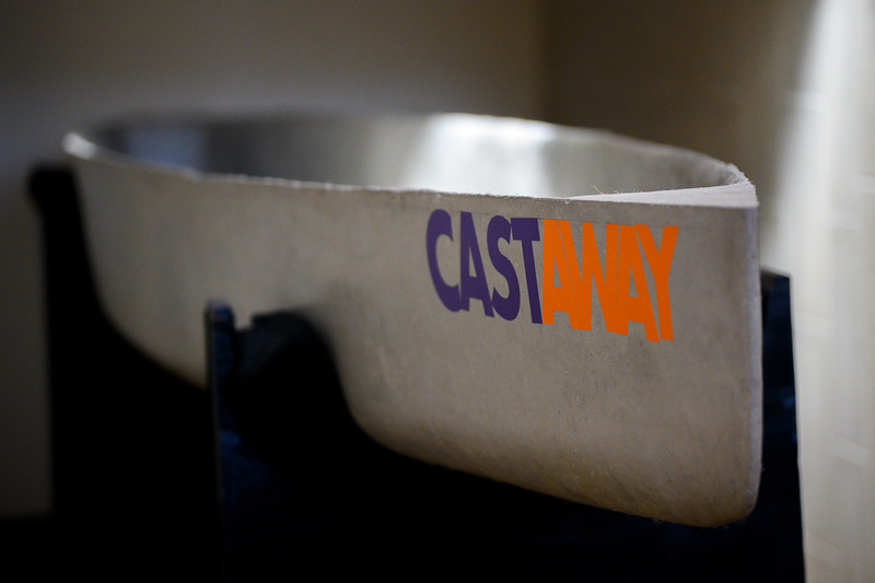 K-State Concrete Canoe Team designs and builds a canoe made of concrete for competitive racing. The concrete canoe is displayed inside the College of Engineering. Nov 14, 2019. (Dylan Connell | Collegian Media Group)