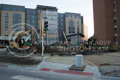 Looking off Denison Avenue shows the construction site for Wefald Hall on July 5, 2016. The new residence hall is situated between Goodnow and Marlatt and will feature walkways connecting all three buildings as well as a new dining hall and other amentaties. (Evert Nelson | The Collegian)