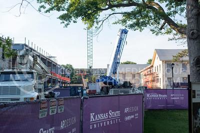 Purple fences surround the AP Design buildings under construction on July 5, 2016. (Evert Nelson   The Collegian)