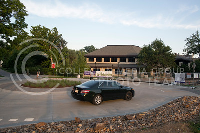 A car uses the new roundabout found on the intersection of Mid-Campus Drive and Old Clafin Street on July 5, 2016. (Evert Nelson | The Collegian)