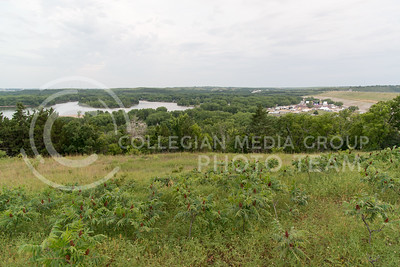 Country Stampede and the Kansas River are visible from a hill South of Tuttle Creek on June 25, 2016. (Photo by Evert Nelson | The Collegian)