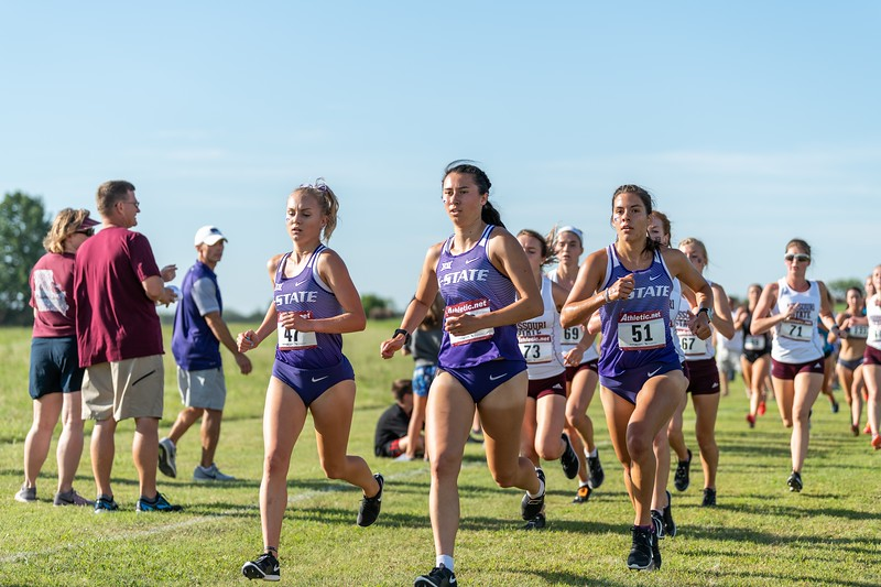 K-State's Sydney Collins, Emma Wren, and Cara Melgares (left to right) ran together during the women's 4k race at the J.K. Gold Classic in Augusta, KS on September 1, 2018. (Alex Todd | Collegian Media Group)