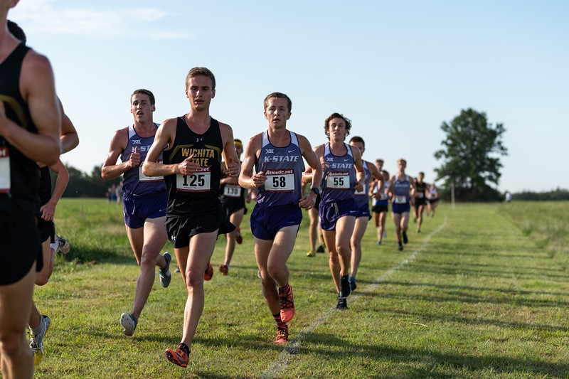 K-State #58 Joe Gorthy leads the group during the 6k race at the J.K. Gold Classic in Augusta, KS on September 1, 2018. (Alex Todd | Collegian Media Group)