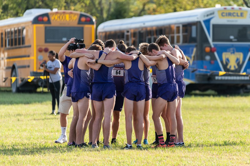 The K-State men's cross country team prepares for a 6k race at the J.K. Gold Classic in Augusta, KS on September 1, 2018. (Alex Todd | Collegian Media Group)
