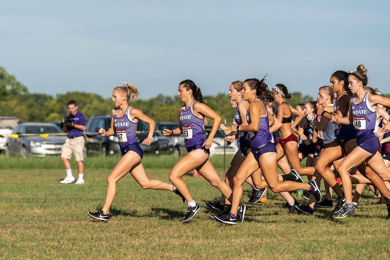 Leading the group, K-State sophomore Sydney Collins has a great start to women's 4k race at the J.K. Gold Classic in Augusta, KS on September 1, 2018. (Alex Todd | Collegian Media Group)