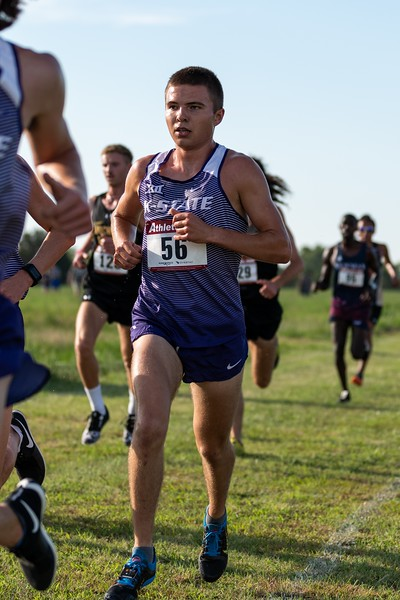 K-State freshman Kerby Depenbusch follows up with the team during the 6k race at the J.K. Gold Classic on September 1, 2018 in Augusta, KS. (Alex Todd | Collegian Media Group)