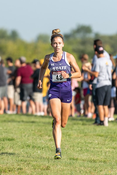 Sophomore Kassidy Johnson placed 11th in the women's 4k at the J.K. Gold Classic in Augusta, KS on September 1, 2018. (Alex Todd | Collegian Media Group)