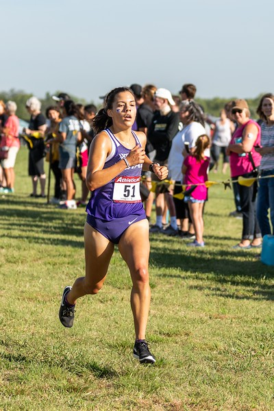 K-State #51 Cara Melgares placed 6th in the women's 4k at the J.K. Gold Classic in Augusta, KS on September 1, 2018. (Alex Todd | Collegian Media Group)