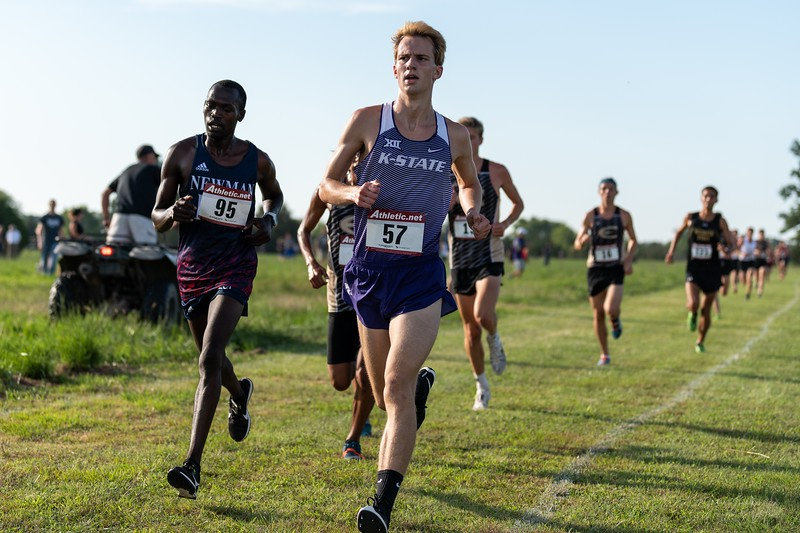 Pierce Flanders, K-State sophomore, placed 21st in the men's 6k at the J.K. Gold Classic in Augusta, KS on September 1, 2018. (Alex Todd | Collegian Media Group)