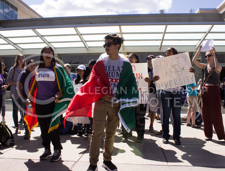 Alexavier Galicia, sophomore in mechanical engineering, chants with students and faculty rallied behind him to show support for Deferred Action for Childhood Arrivals (DACA) on September 6, 2017. The rally was held soon after President Trump announced efforts would be made to roll back DACA. (Regan Tokos | Collegian Media Group)