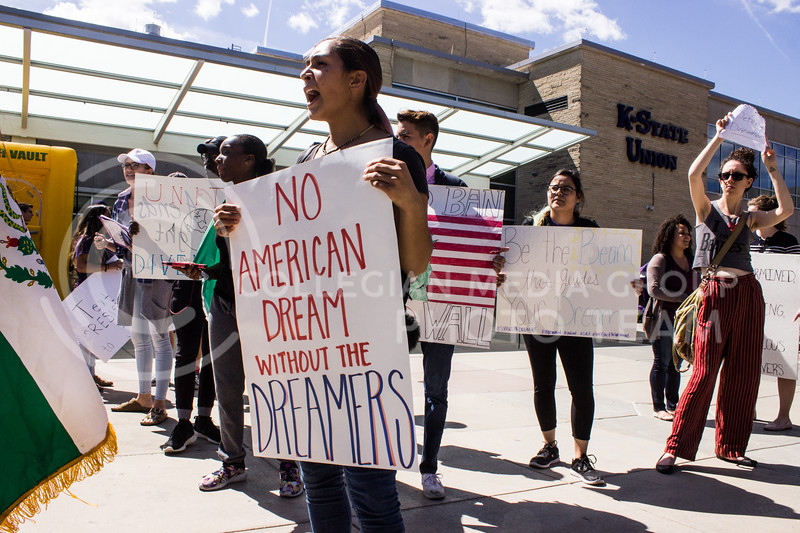 Students gather together in Bosco Plaza to protest the recent announcement by President Trump to roll back protections granted to Deferred Action for Childhood Arrival (DACA) recipients. The rally was held on September 6, 2017 in Bosco Plaza. (Regan Tokos | Collegian Media Group)