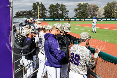 Wildcat players stand in their dugout during their baseball game against Eastern Illisnois University at Tointon Family Stadium on Mar. 5, 2017. (John Benfer | The Collegian)