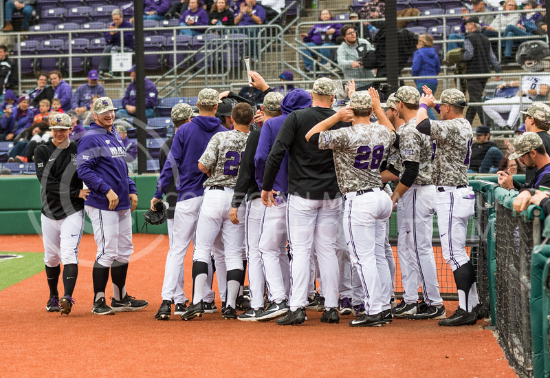 K-State baseball players rally together after scoring a run at their game against Eastern Illisnois University at Tointon Family Stadium on Mar. 5, 2017. (John Benfer | The Collegian)