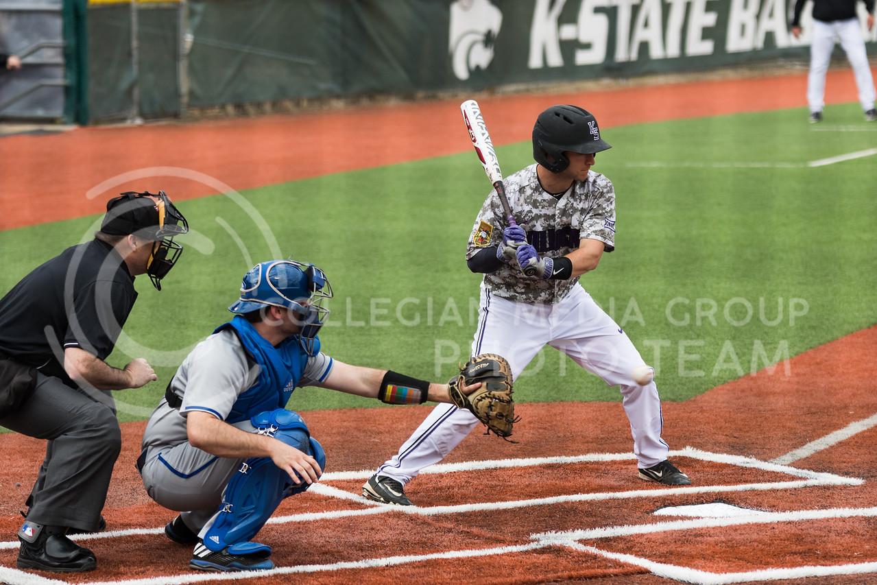 Senior infielder Jake Wodtke bats during the K-State baseball game against Eastern Illisnois University at Tointon Family Stadium on Mar. 5, 2017. (John Benfer | The Collegian)
