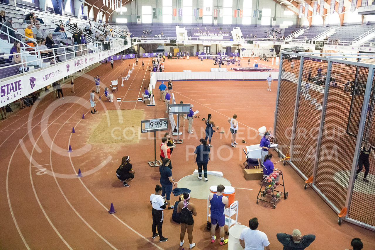 Track and field attendees watch the K-State track meet in Ahearn Field House on Feb. 17, 2017. (John Benfer | The Collegian)